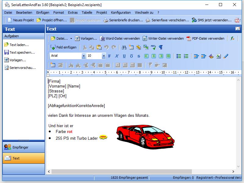 Screenshot vom Programm: SerialLetterAndFax